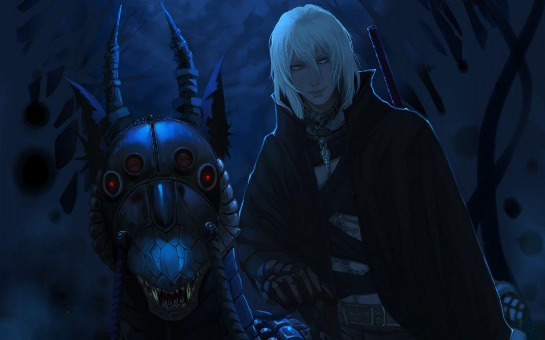 guy monster night red eyes moonlight Horn smile grin canines skull wallpaper