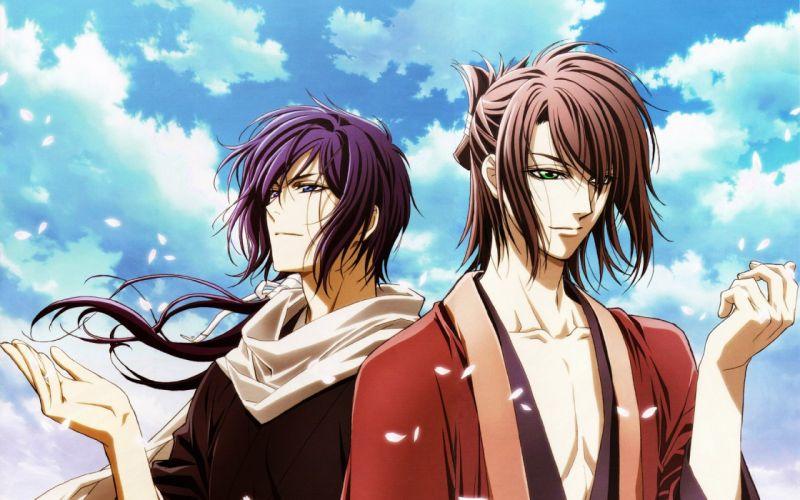 Demons pale cherry Samurai Saito Okita boys Petals sakura sky clouds wind wallpaper