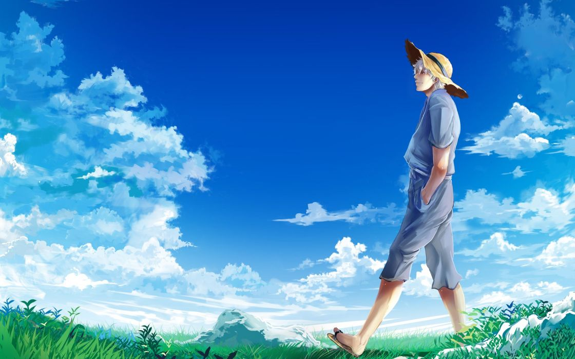 gintama guy meadow hat sky clouds wallpaper