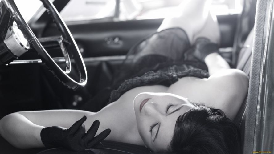 brunette girl sexy beauty attractive lady lovely sweet car pin up wallpaper