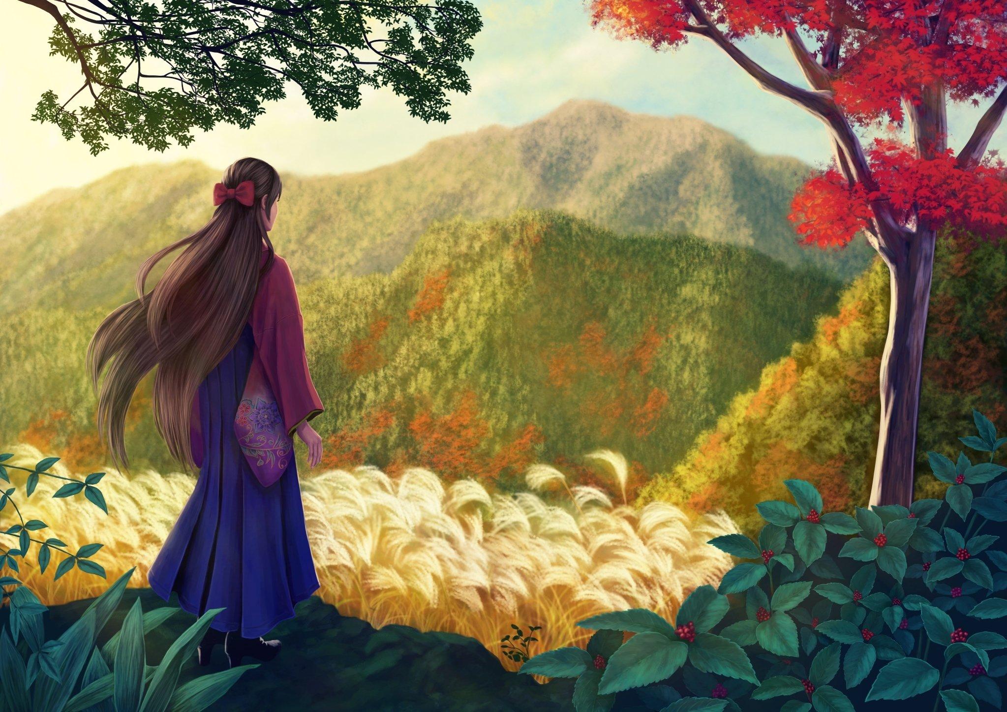 Nature girl red tree flower alone girl kimono mountain painting wallpaper 2047x1447 495575 wallpaperup