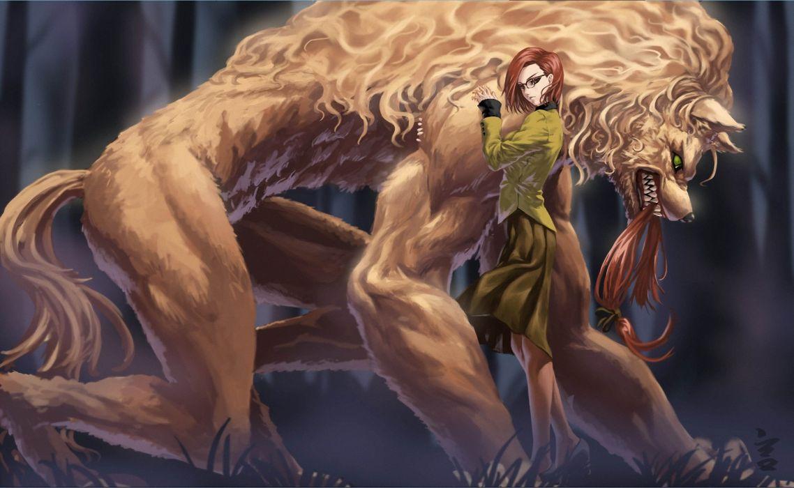 girl forest monster hair glasses Art wallpaper