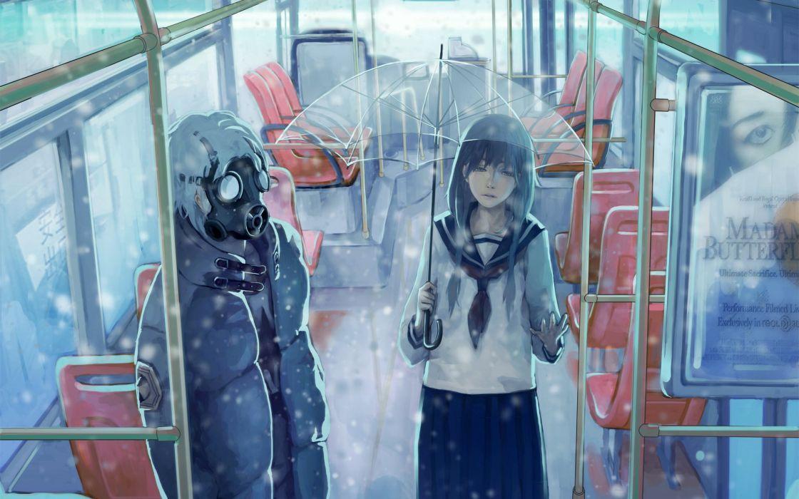 transport guy mask Art snow car girl wallpaper