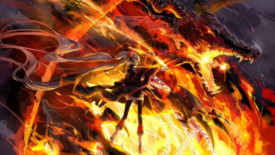 Dragon Red Vocaloid Power Long Hair wallpaper