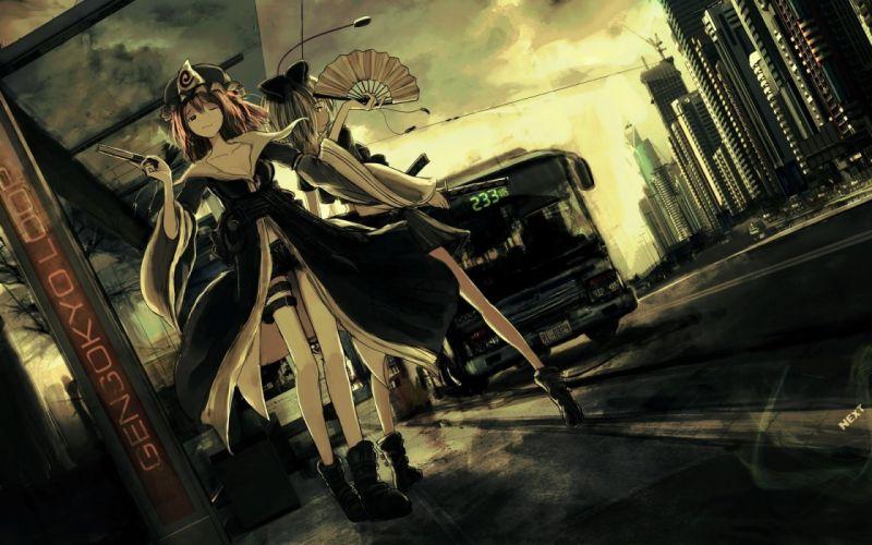 Girl cars short hair dark anime wallpaper