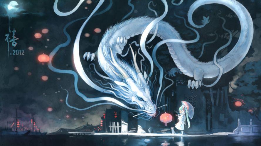 La dama y el protector Dragon Anime Girl Cian Feliz AA wallpaper