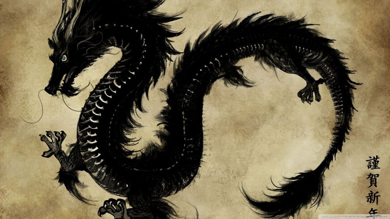 Dragon black chinese chino japones japonese dark wallpaper