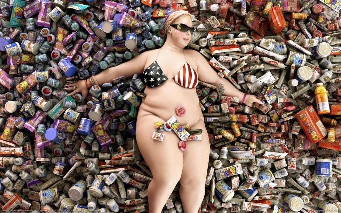 HEAVY GIRL - glasses sweets fat wallpaper