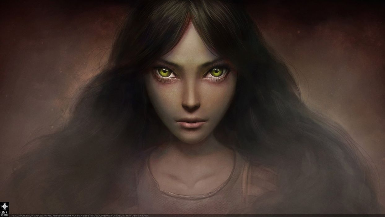 game girl green eyes magic witch evil wallpaper
