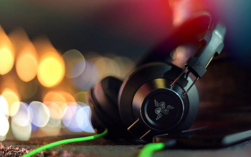 bokeh Macro headphones hi-tech light wallpaper