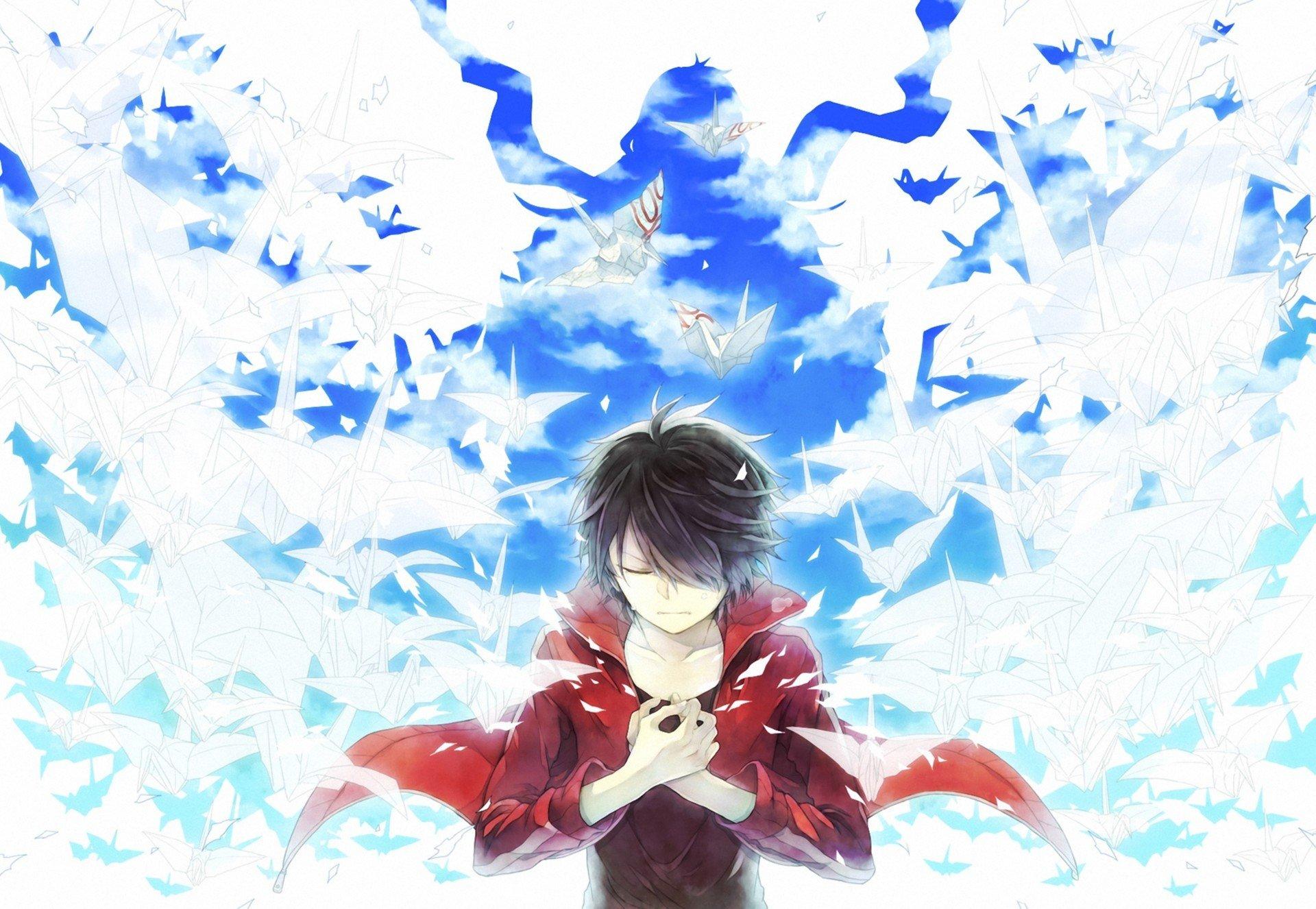 Birds Guy Origami Art Blue Sky White Wallpaper