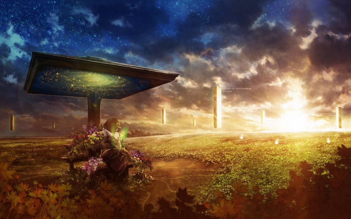 girl sunset surrealism column inscriptions wings fairy Plants Flowers wallpaper