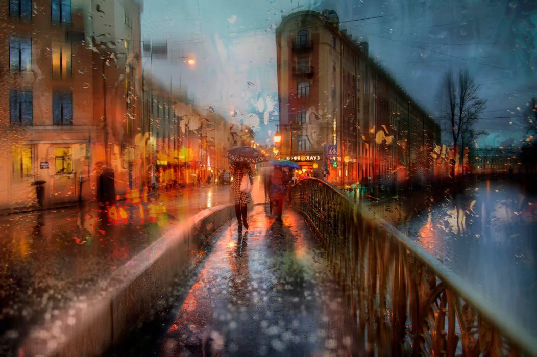 umbrella girl Peter rain autumn wallpaper