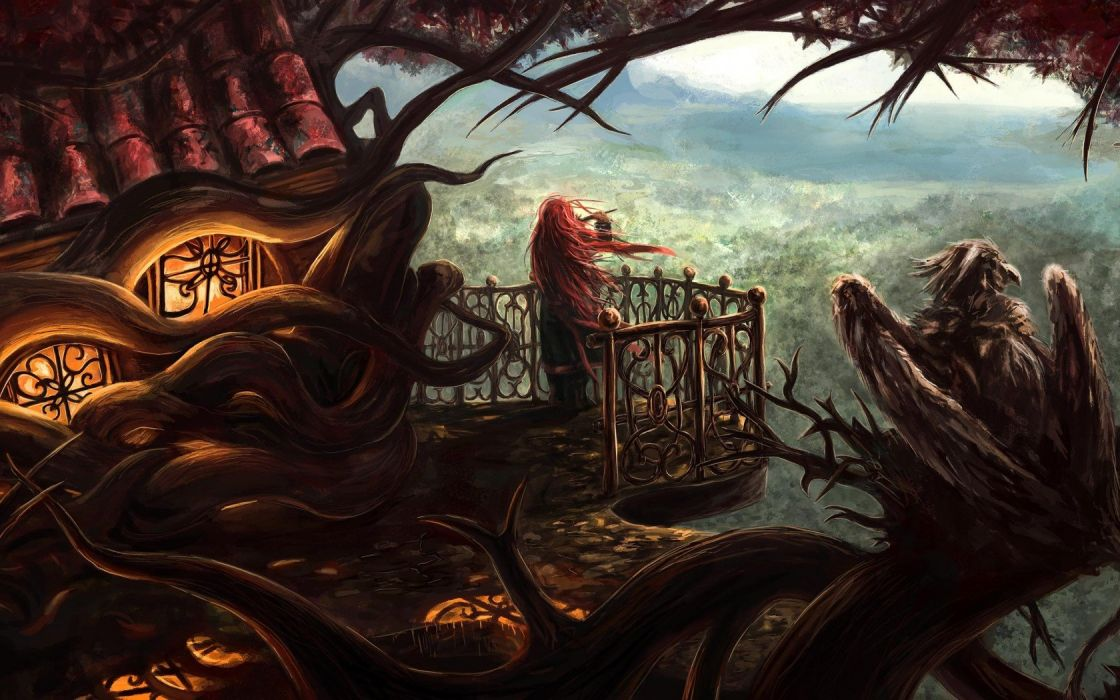 Art home tree the roots girl pipe music musical instrument height wind balcony bird griffin wallpaper