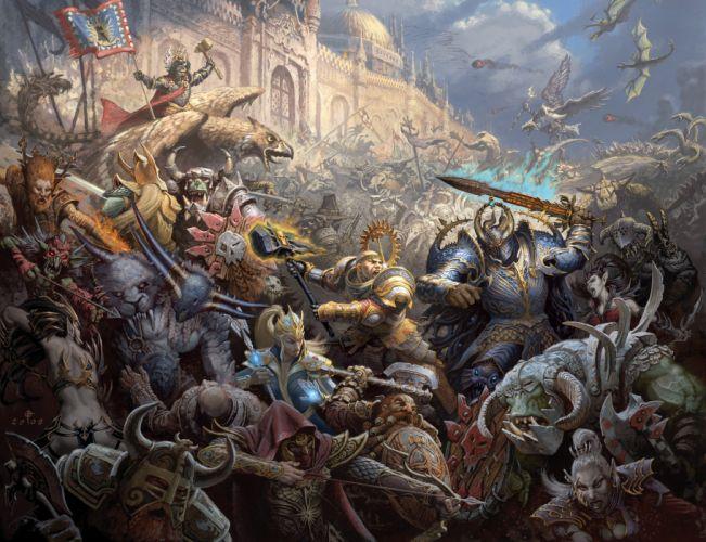 war battle empire chaos Magi Warriors Dwarves Griffins Orcs Elves Gretchin castle magic assault siege wallpaper
