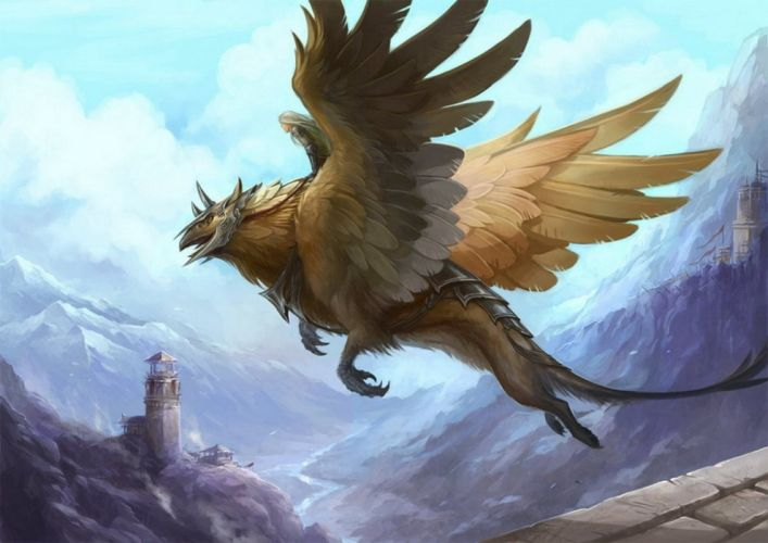 Art griffin girl wings castle flight ruins tower Mountains wallpaper