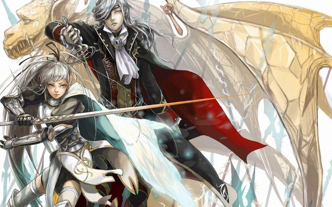 Art guy girl sword rapier griffin wallpaper