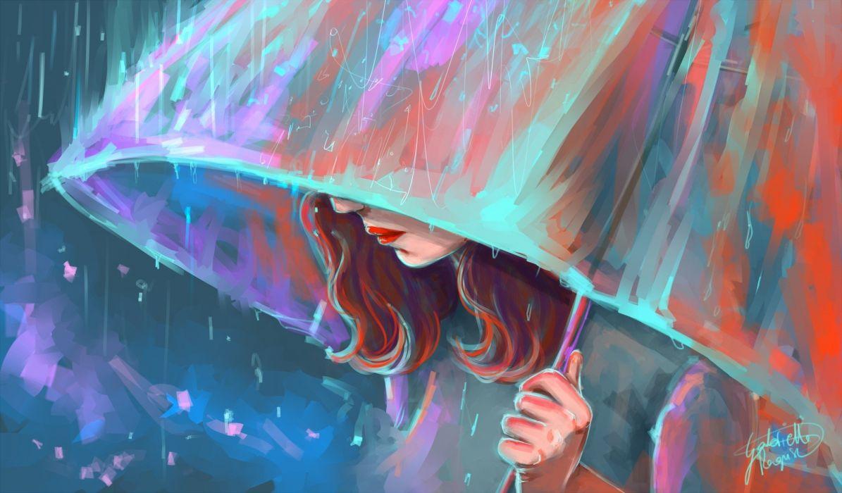 girl umbrella Art rain wallpaper