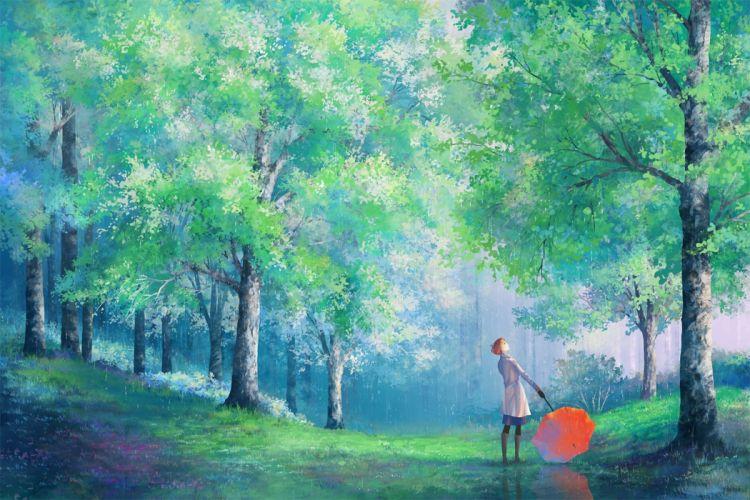trees umbrella girl Art park rain coat wallpaper