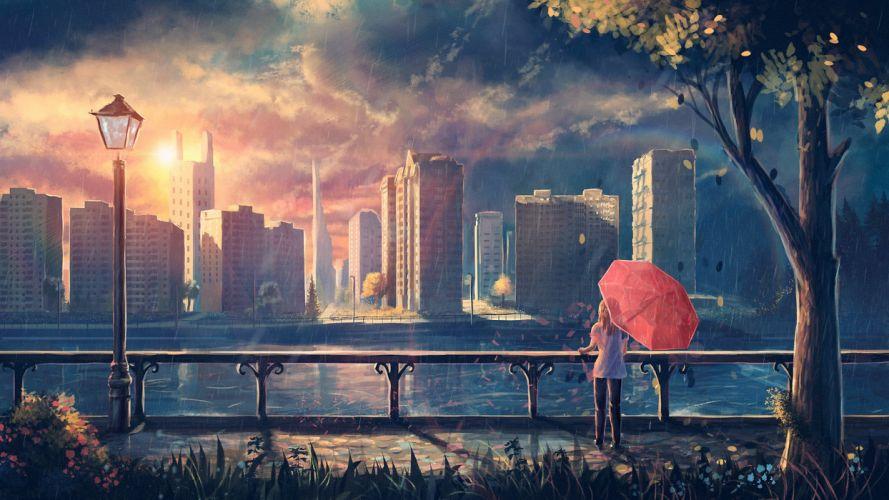 girl Art foliage umbrella lantern rain city tree wallpaper