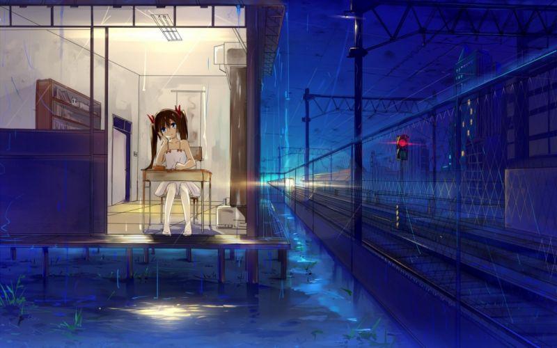 Art home girl Sitting table rain night traffic light railroad wallpaper