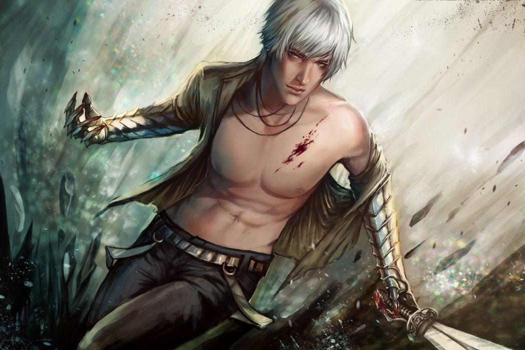 Art guy sword blood wound weapon metal wallpaper