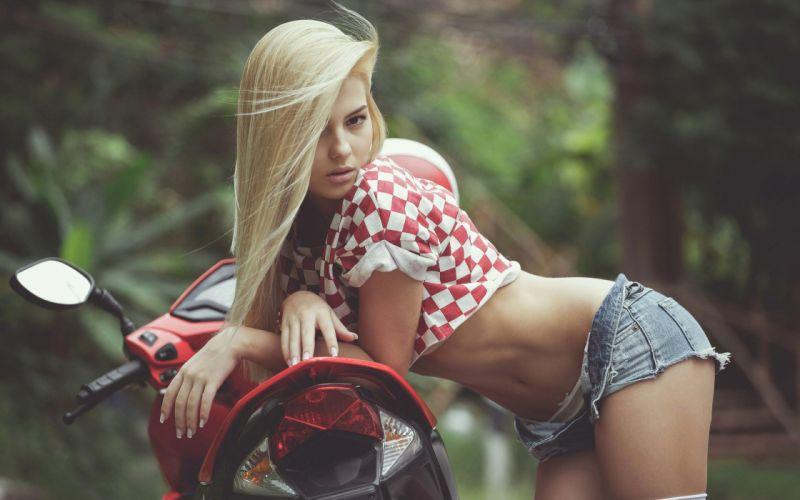 cute sexy girl shorts bike blonde wallpaper