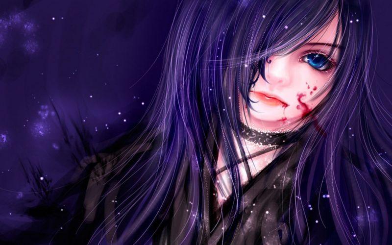 girl blue eyes blood shine wallpaper