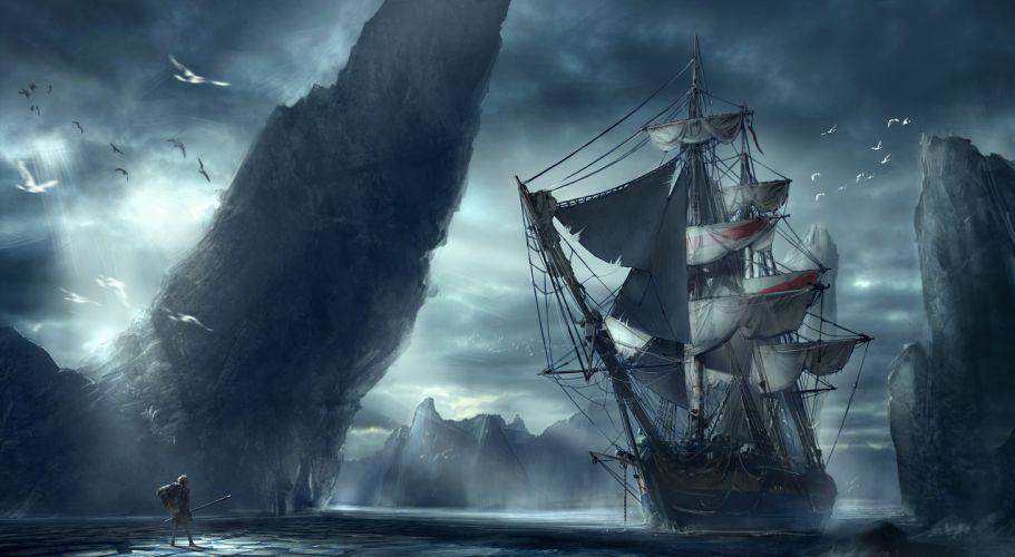 ship man mountain sea landscape wallpaper