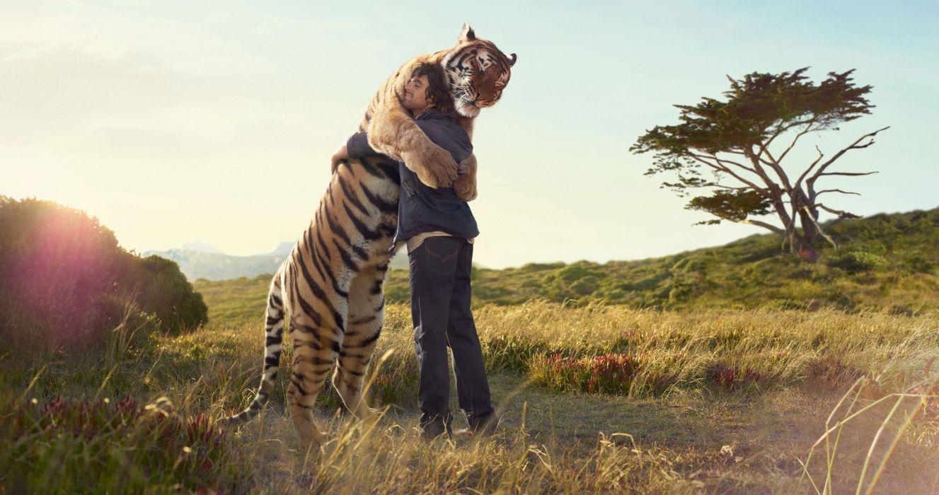 tiger man hug meeting Print tree field friend wallpaper