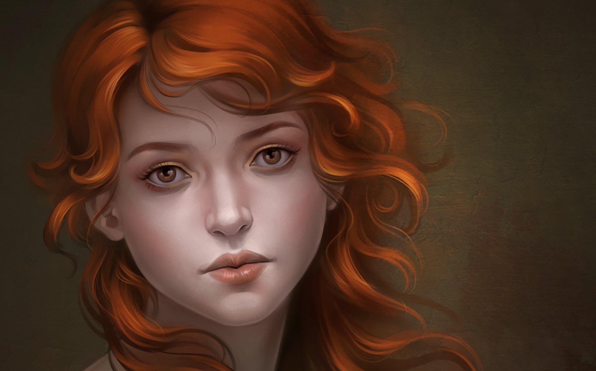 рыжие девушки картинки нарисованные
