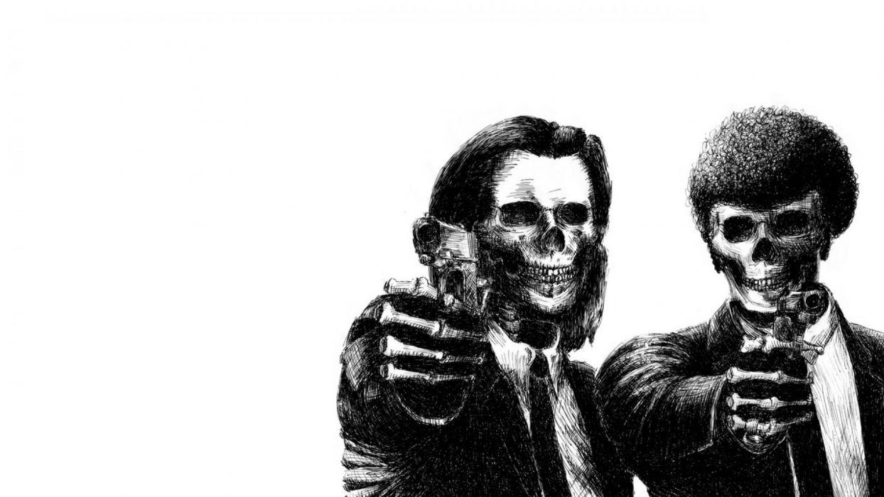 PULP FICTION crime thriller drama comedy skull dark wallpaper