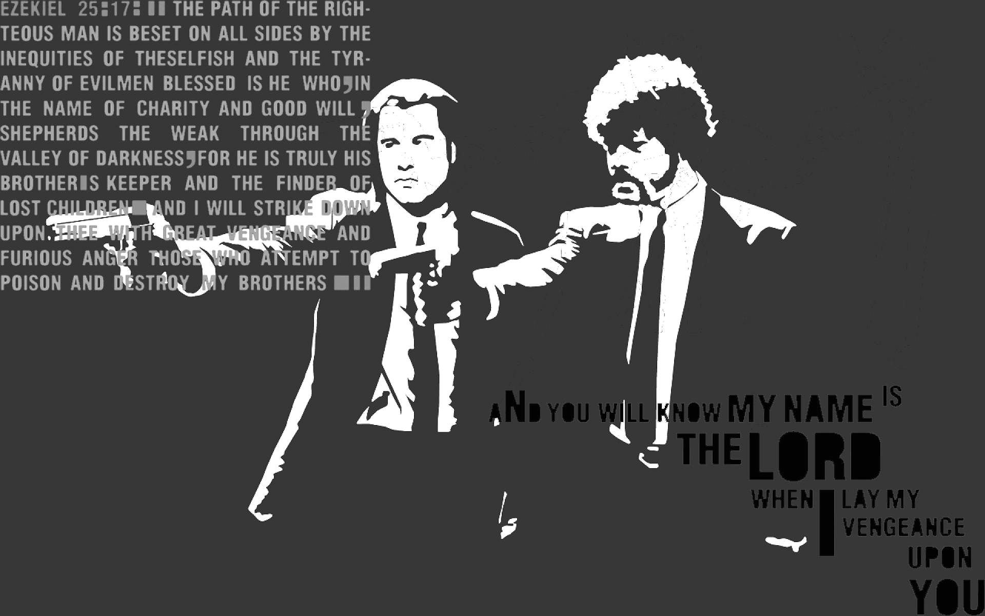 Bible Verse And Image Pulp Fiction Wallpaper: PULP FICTION Crime Thriller Drama Comedy Verse Bible