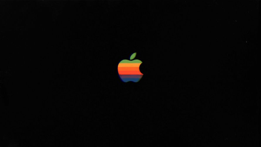 retro apple mac 80's classic vintage green yellow orange blue colorful old wallpaper