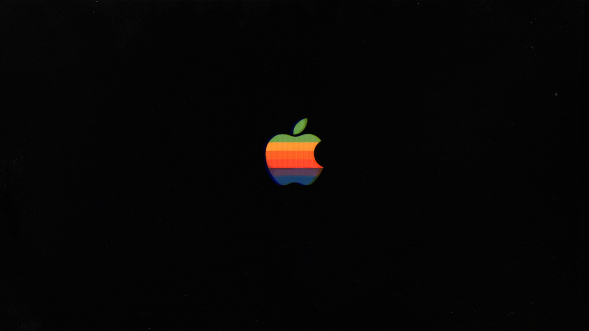 retro apple mac 80's classic vintage green yellow orange blue