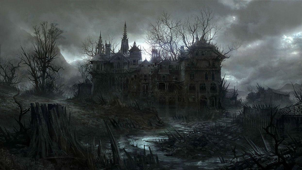 HALLOWEEN dark haunted house spooky wallpaper