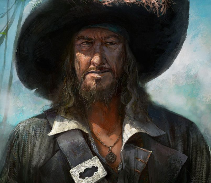 Barbossa movie series pirates of the caribbean character art painting wallpaper