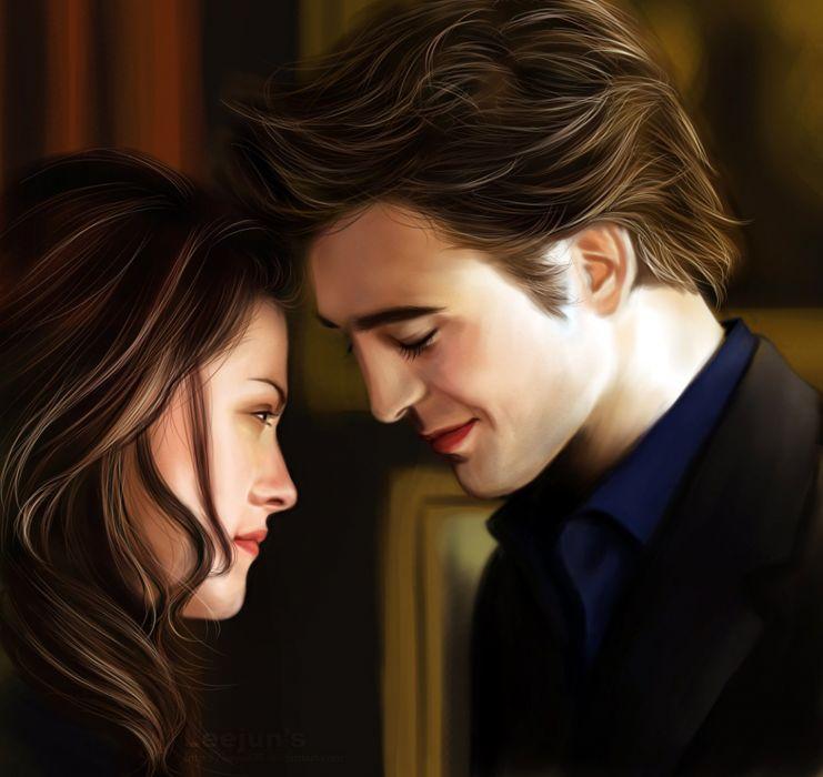 Twilight Edward Bella couple love forever movie series painting art wallpaper