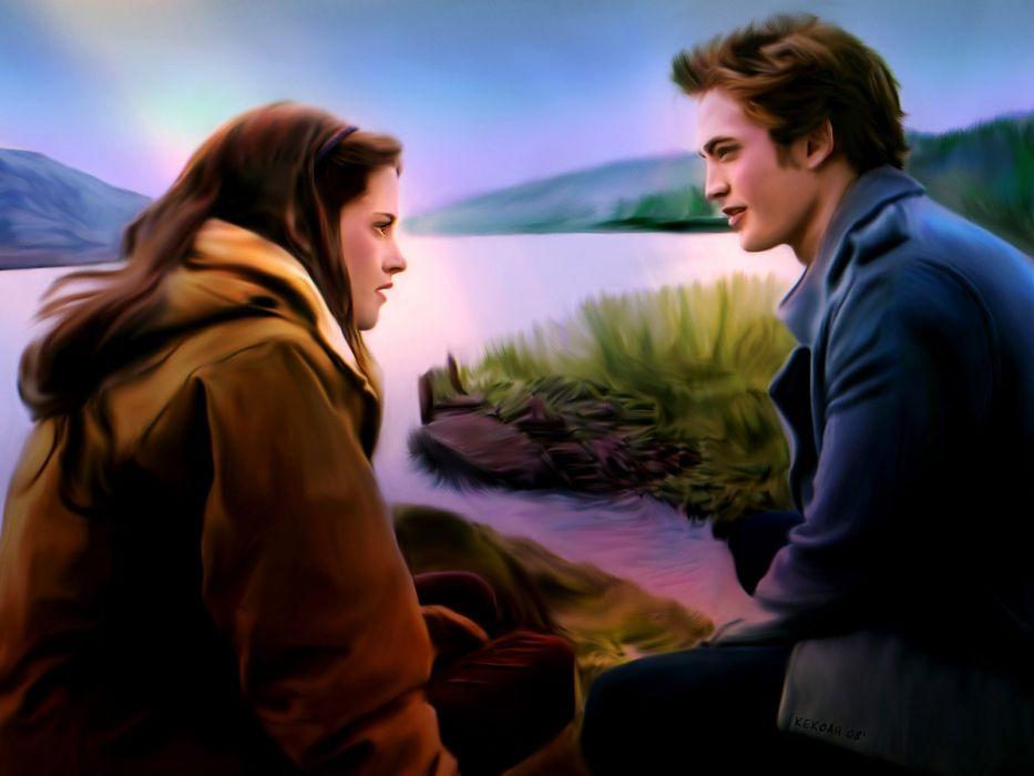 Twilight is Love again couple painting art beautiful tree water wallpaper