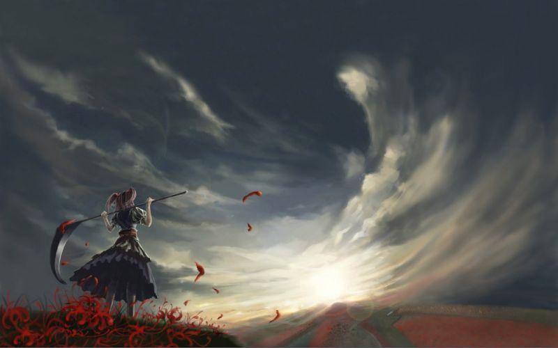 anime dream flower garden cloud sky amazing sunlight wallpaper