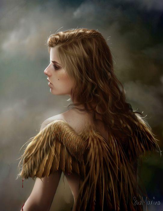 2d girl gold wings blonde girl blood art digitalart wallpaper