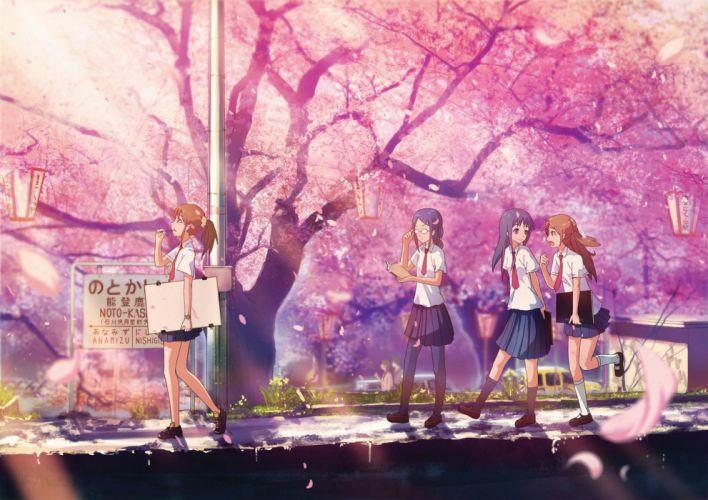 noto kashima pink light petals sakura tree group friends girls school uniform anime wallpaper