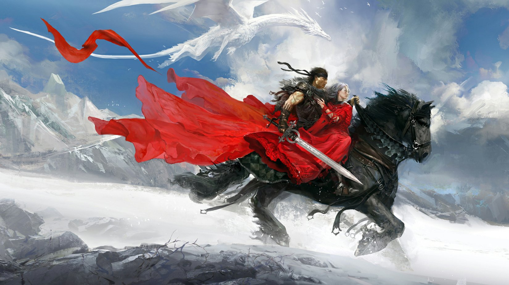 Fantasy painting sword dragon ice snow red princes horse ...