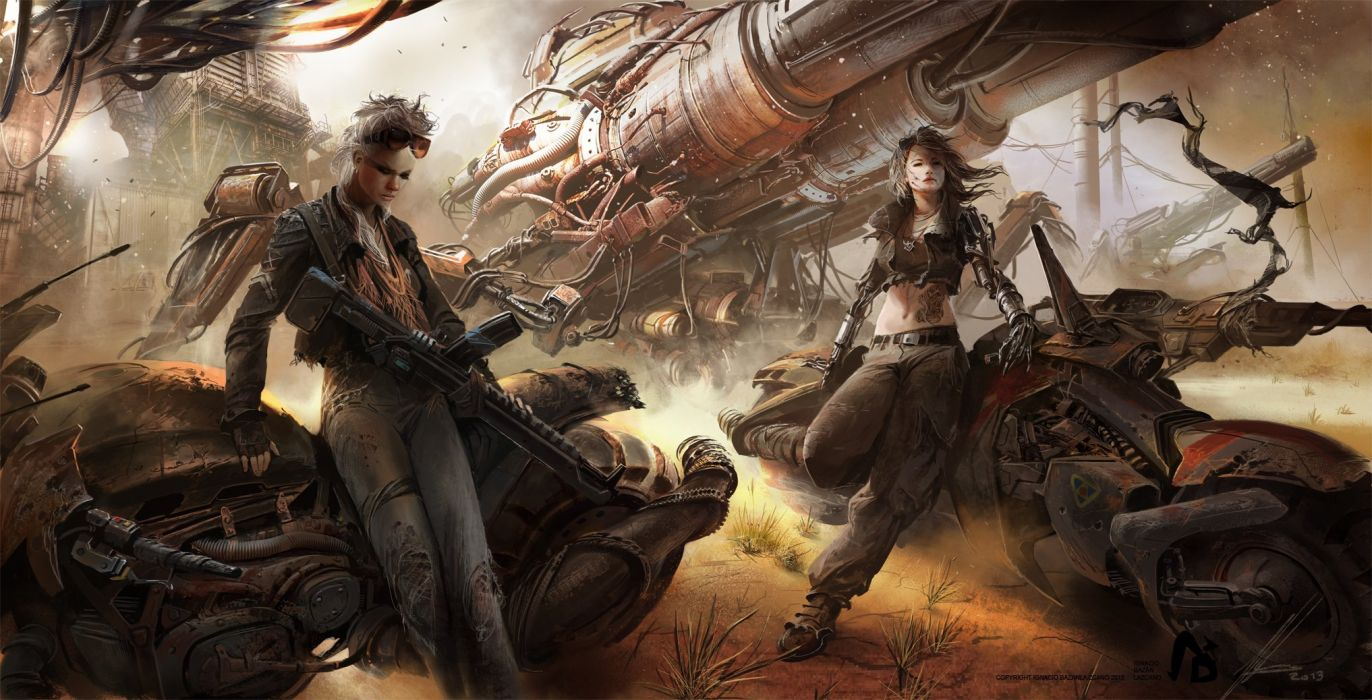 waiting girls fantasy weapons motorcycle technology cool wallpaper