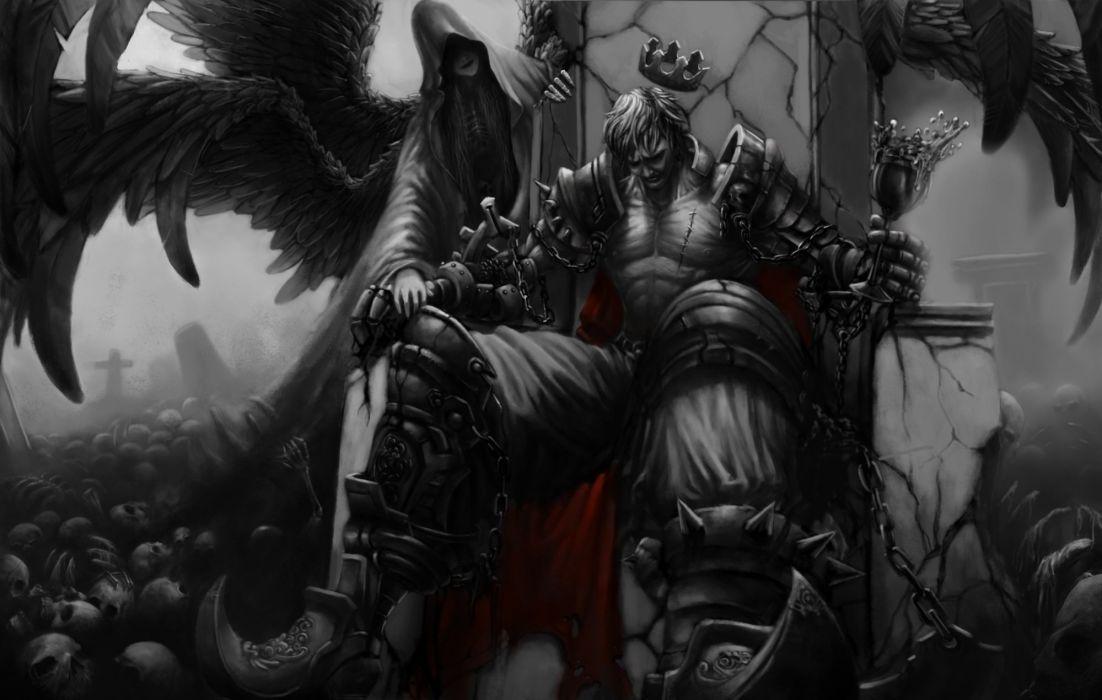 Art wings King wineglass Lich girl throne crown cape Skull wallpaper