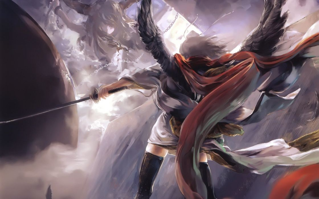 Art Girls Planet wings chain sword Katana wallpaper