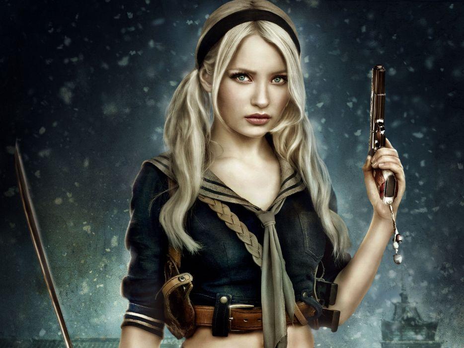 gun girl sword Katana illegal hold wallpaper