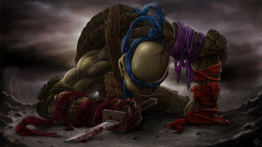 sword Teenage Mutant Ninja Turtles Katana Tears Leonardo blood wallpaper