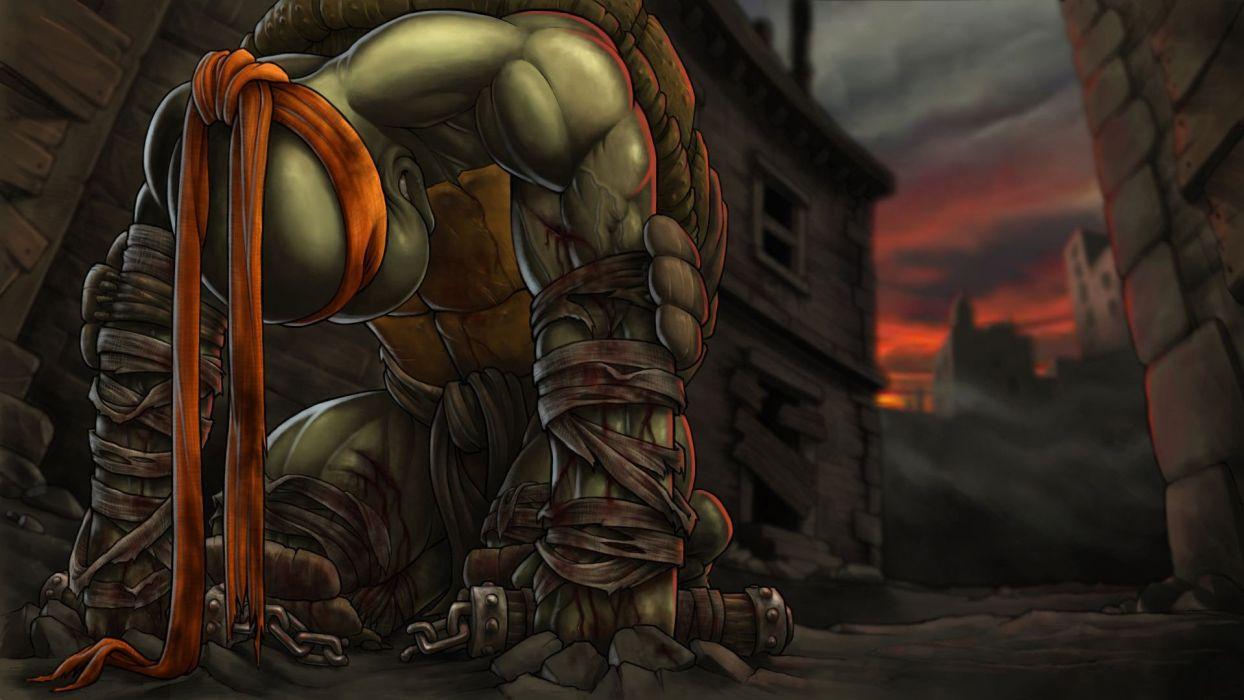 evening building Teenage Mutant Ninja Turtles nunchuck blood Michelangelo wallpaper