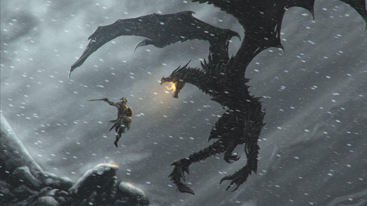 the elder scrolls v skyrim skyrim tes dovakin dragon viking snow snake Skyrim dovahkiin hero wallpaper